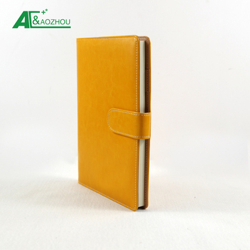 2018 new custom orange hardcover pu leather notebook