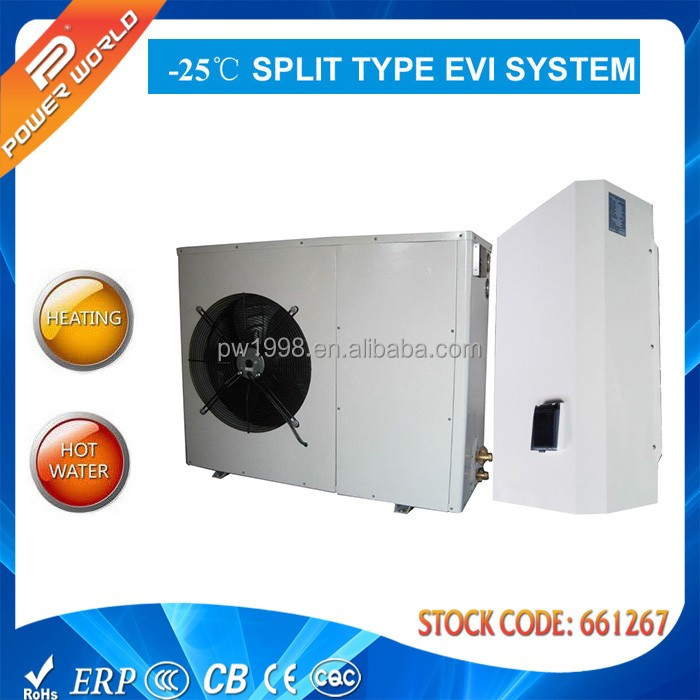 Compressor outside R407C Air to water heat pump split EVI heat pump can worke under -25 degree C cold climate