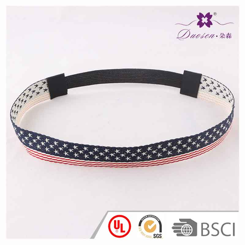 New design 2017 cotton tape American flag print stars with stipes elastic headband for sports