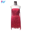Women dongguan clothing off shoulder Casual Party Elegant Mini bodycon Dress red leaf Lace Dress