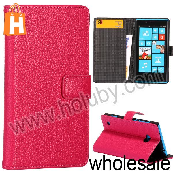 Lichee Pattern Magnetic Side Flip Wallet Stand Leather Case Custom Phone Cover for Nokia Lumia 720 with Card Slots