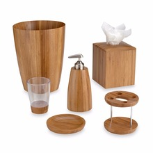 Luxury 6 Piece Bamboo and Stainless Steel Bathroom Accessory Set