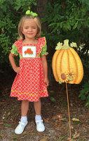 Orange Quatrefoil Pumpkin Smock Bishop Dress