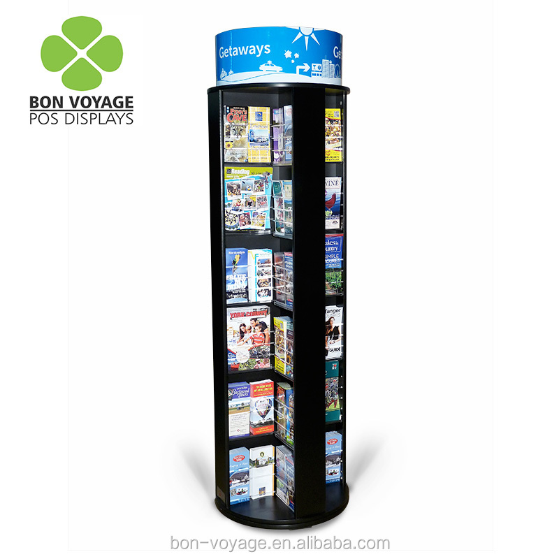 rotating literature display stand floor standing spinning magazine brochure rack black full