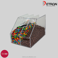 Acrylic scoop bin with sign holder & candy box
