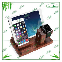 Stand, Bamboo Wood Charge Dock Stand for Watch / Tablet/ Smartphones/ Pen Holder&Docking Station