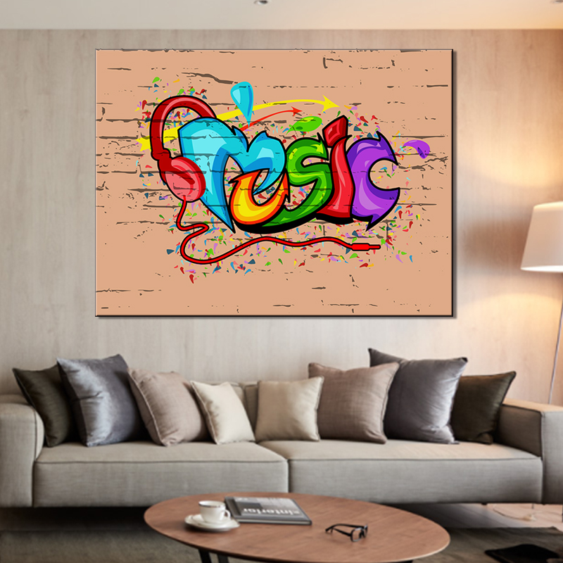 abstract music wall art painting on canvas home decor cheap giclee prints factory wholesale for livingroom
