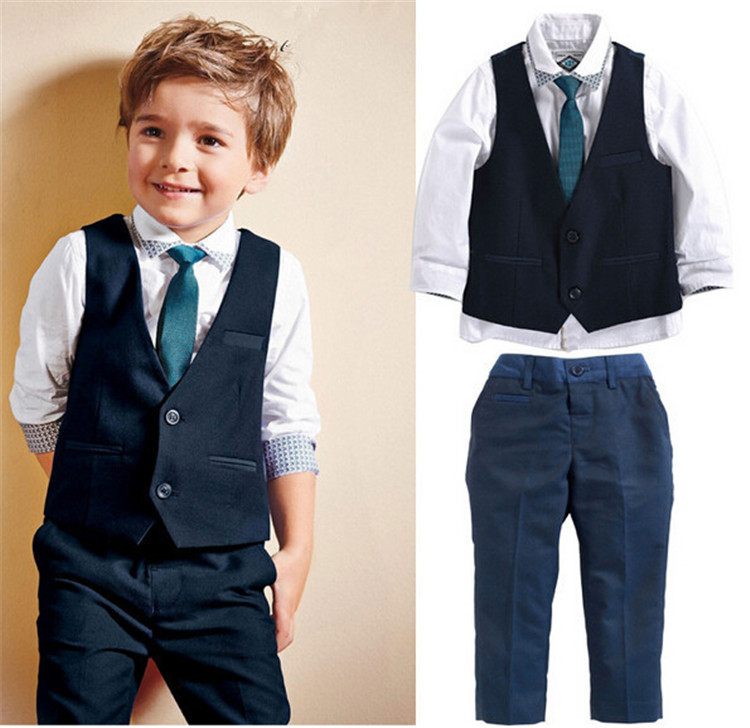 Fashion boys tie + vest + shirt + pants 4 pieces set clothing set