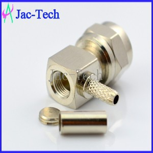 Factory price brass material adapter F male 90 degree right angle crimp for RG316/RG174 cable coaxial connector