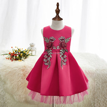 2017 fashion Europe style baby girl party dress children frocks designs swing dress kids
