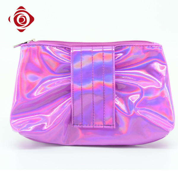 Cheap wholesale PU leather makeup packing bling cosmetic bag