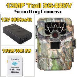 16GB Wifi SD+12MP Infrared IR Digital Trail Game Hunting Camera+6800mAh Battery