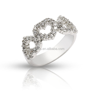 2017 latest design 925 silver jewelry three heart engagement ring