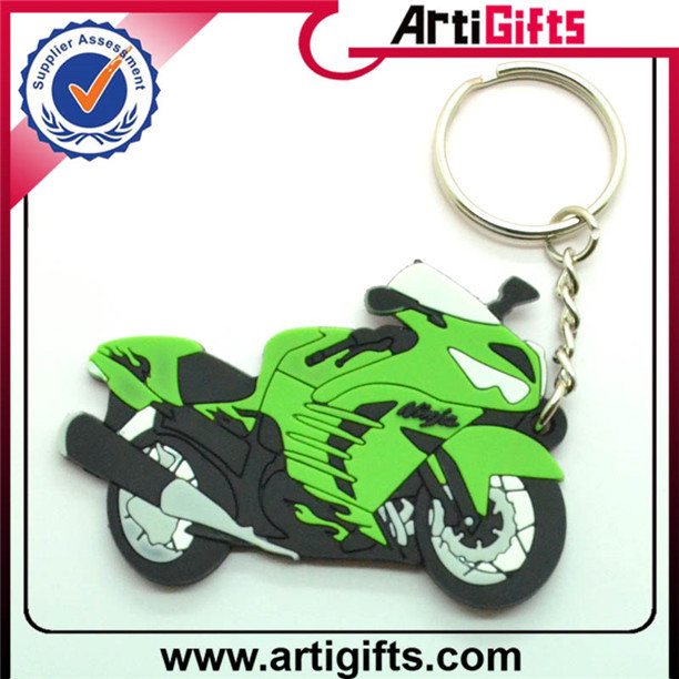 Cheap promotional custom 2d pvc keychain for motorcycle