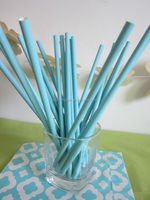 Pastel Blue Pastel Solid paper drinking straws for baby showers