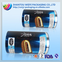 2015 new food grade plastic film roll for biscuit ice cream chocolate