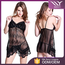 Wenyi brands large in stock women tansparent for girls sexy night sleeping dress