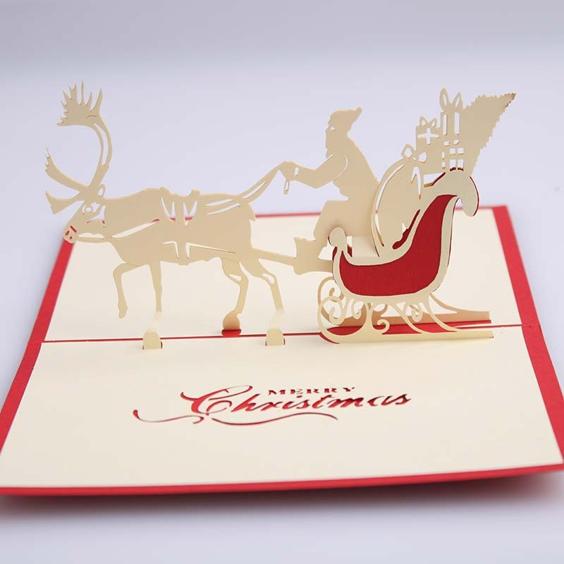 NEW Gift 3D Christmas Deer Car Handmade Creative Greeting Cards Fashion