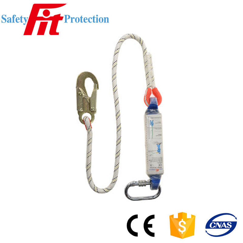 polyamide rope lanyard with shock absorbing pack for climbing safety