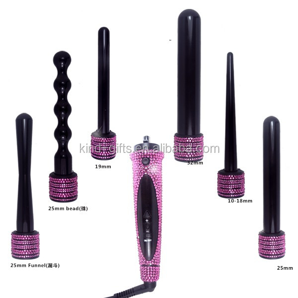 Bling bling rhinestone diamond rechargeable ceramic curling iron