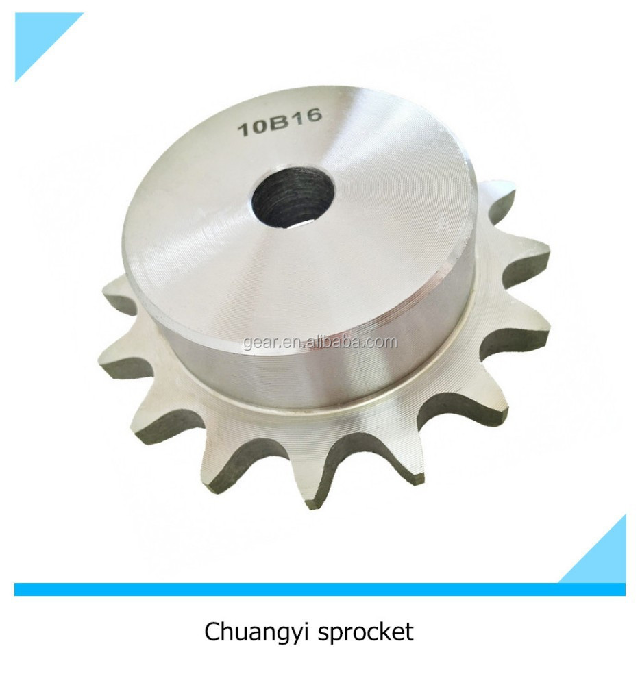 1045 carbon steel transmission roller chain sprocket 10b-1 with big bore and screw hole hub wheel