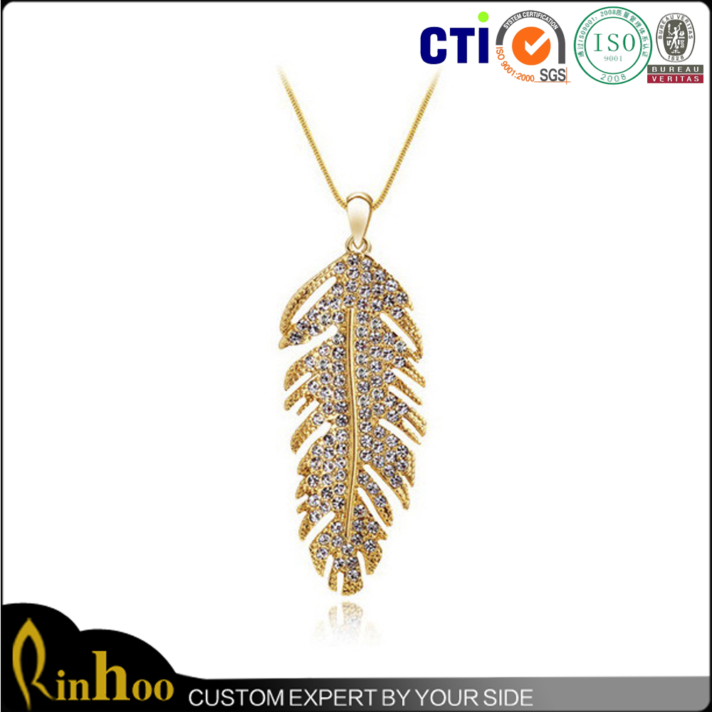 Special LOVE Meaningful 18k Gold Plating Feather Pendant Necklace, Fashion Jewelry Feather Necklace Wholesale