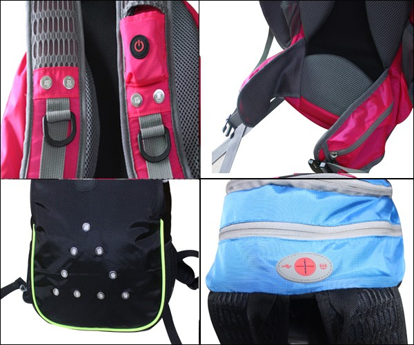 Flashing waterproof LED light safety backpack