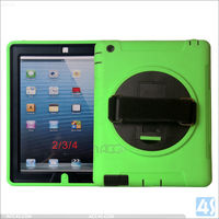 Hot sale Kid proof kids tablet case Cover ,360 Rotation Anti Shock Kick Stand Case for iPad 4 3 2 with Hand and Shoulder strap