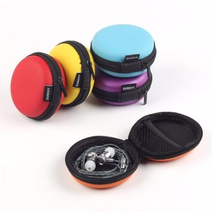 Custom EVA carrying zipper closure carbon fiber earplug earphone case