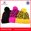 Black 100% cotton Beanie With Leopard Double Folder Beanie Hats
