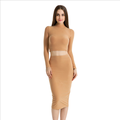 lx20191a high quality sexy highneck two-piece women midi dress pencil skirt