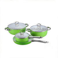 7pcs green aluminium cookware set with stainless steel handle