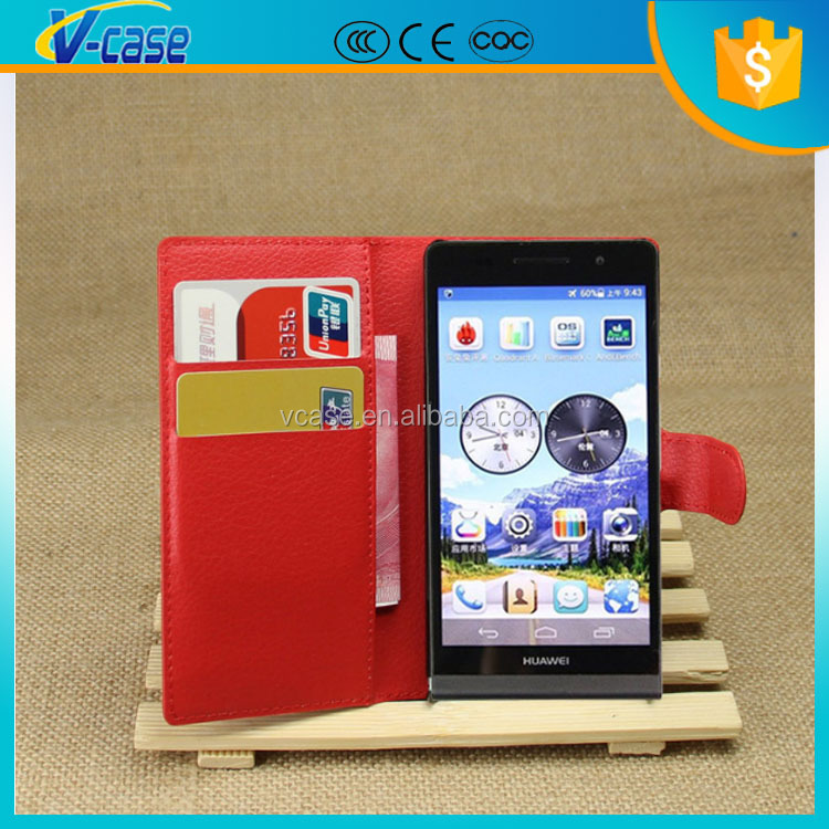 Two card slot universal wallet leather flip stand case for huawei ascend p6