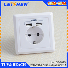 EU Power Wall Sockets outlets With 2 USB Ports,Wall Plate Socket,Wall Mount Power