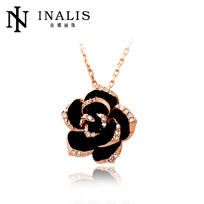 Rose Gold Crystal Antique Artificial Flower Necklace <strong>N009</strong>