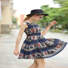 summer comfy modern girl print deep blue linen dress