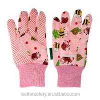 Children Pink Beautiful Flowered Cotton Factory Glove With Mini Dots Palm