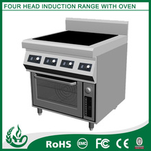 Commercial electric range with 4 burners and one oven