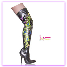 China factory price colorful flower print over knee sexy thigh high winter boots for women