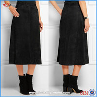 Top selling black latest skirt design pictures black suede long skirt