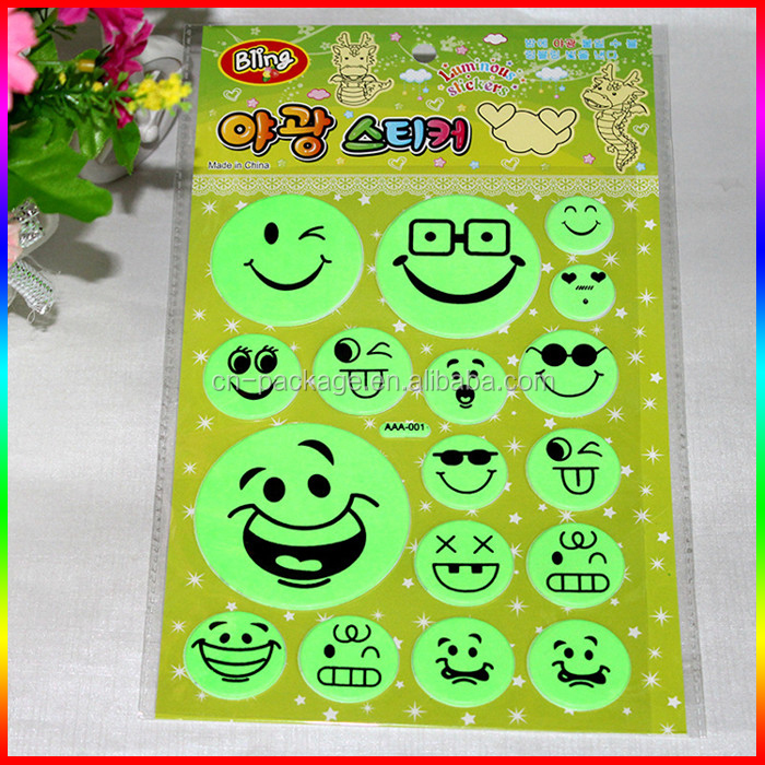 glow in the dark smile face luminous puffy stickers/foam sticker