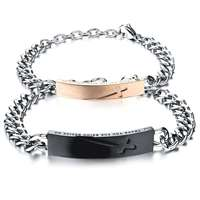 Lovers' Link Chain Bracelets Classical Black/Gold Cross Design Stainless Full Steel Women Men Jewelry GS774