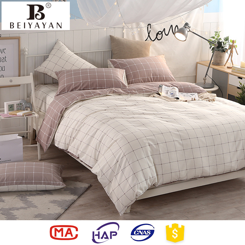 BEIYAYAN reversible sheets bed set 100% cotton duvet cover sets plaid kids beddings