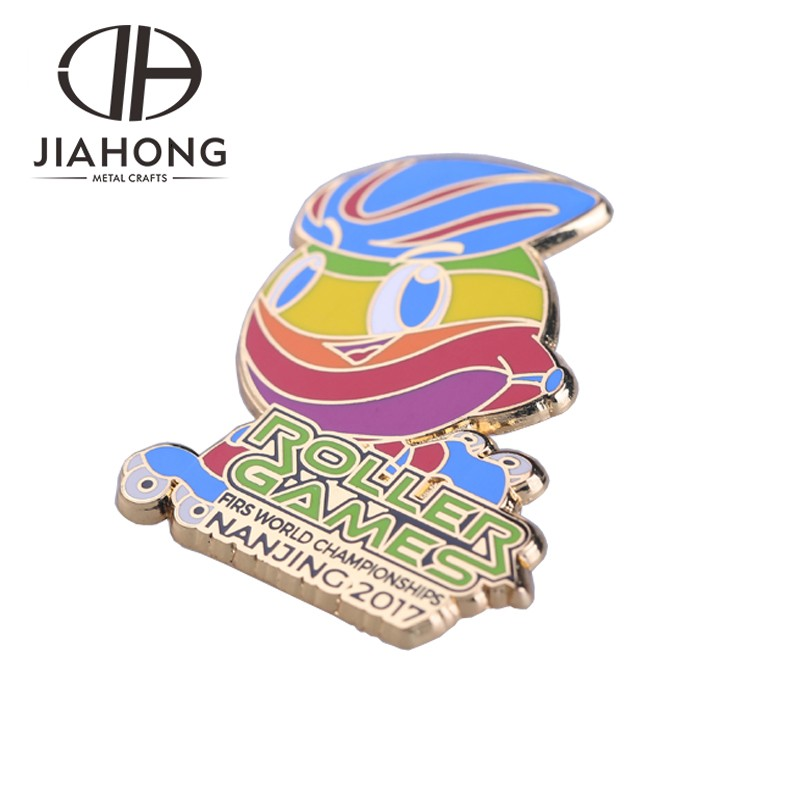 2017 NANJING rullo del mondo giochi smalto duro design pin badge