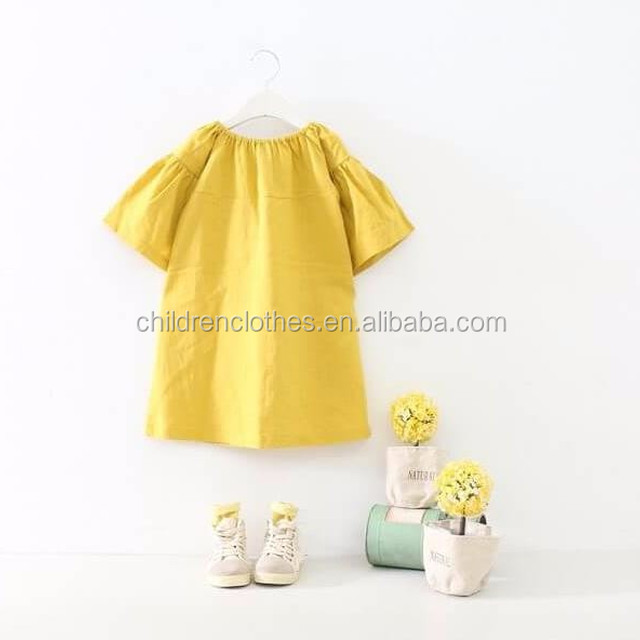 Yellow Children Fashion Frock Bubble Sleeve Baby Dress Baby Girl Dresses Toddler Breathable Dress