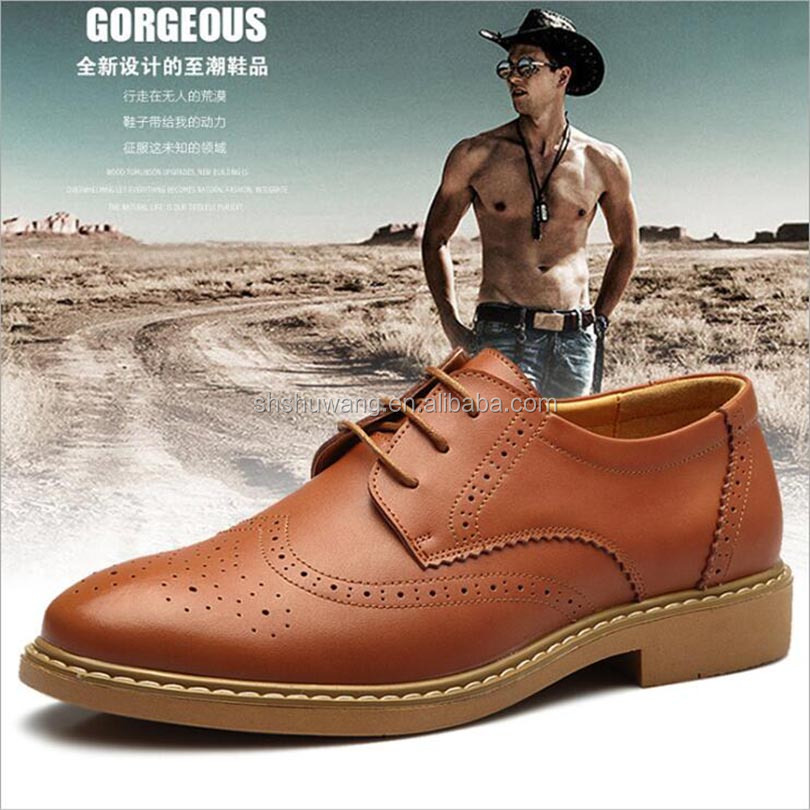 Bullock carve patterns or designs on woodwork leather men's shoes breathable leisure shoes