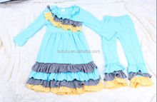 traditional ruffle bulk wholesale kids clothing made in China unique cheap fall winter layers suit newest set for girls