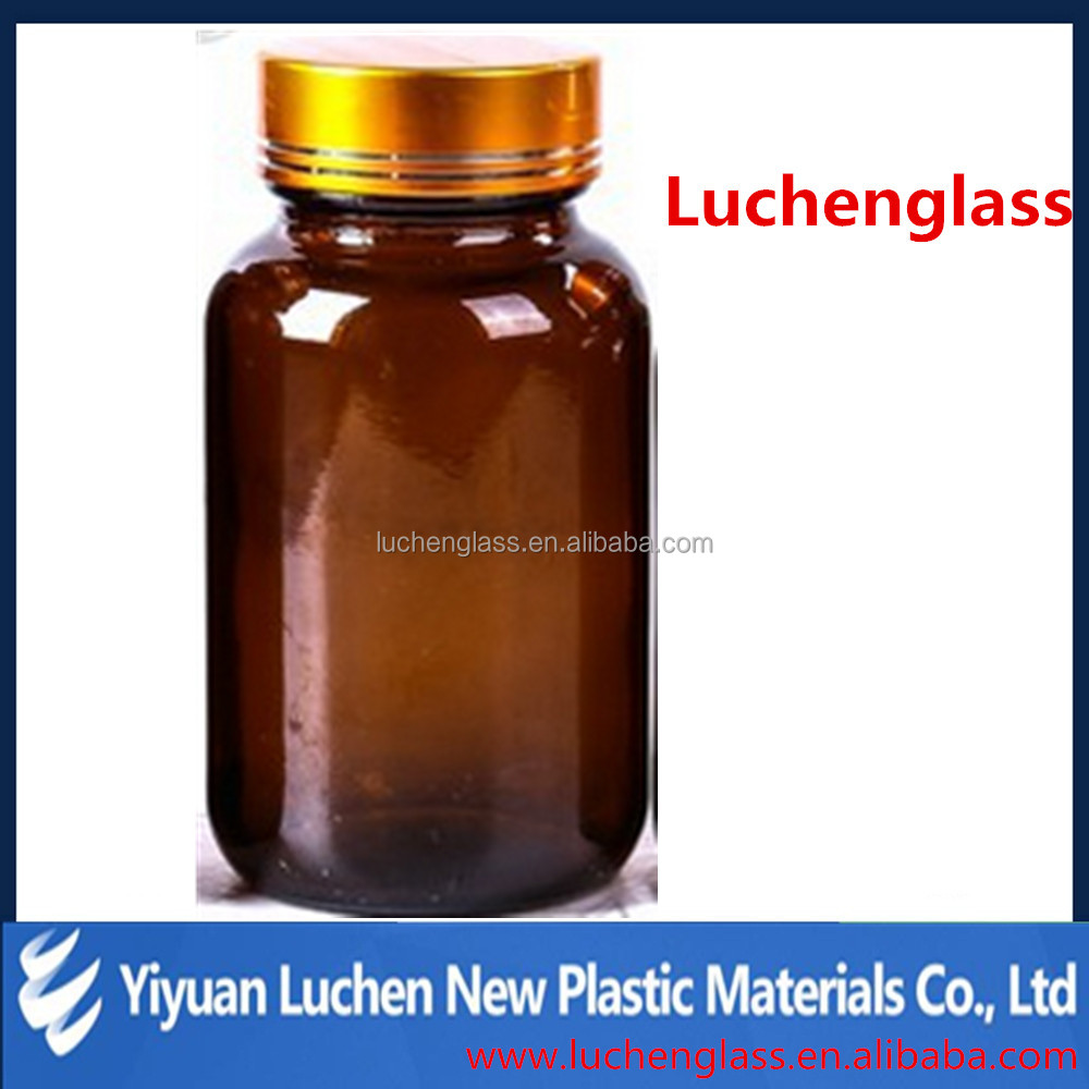 China gold glass bottle manufacturers hot selling high quality best price Amber wide mouth tablet glass bottle for pills