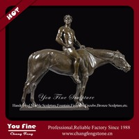 Large Antique Bronze Man With Horse Statue