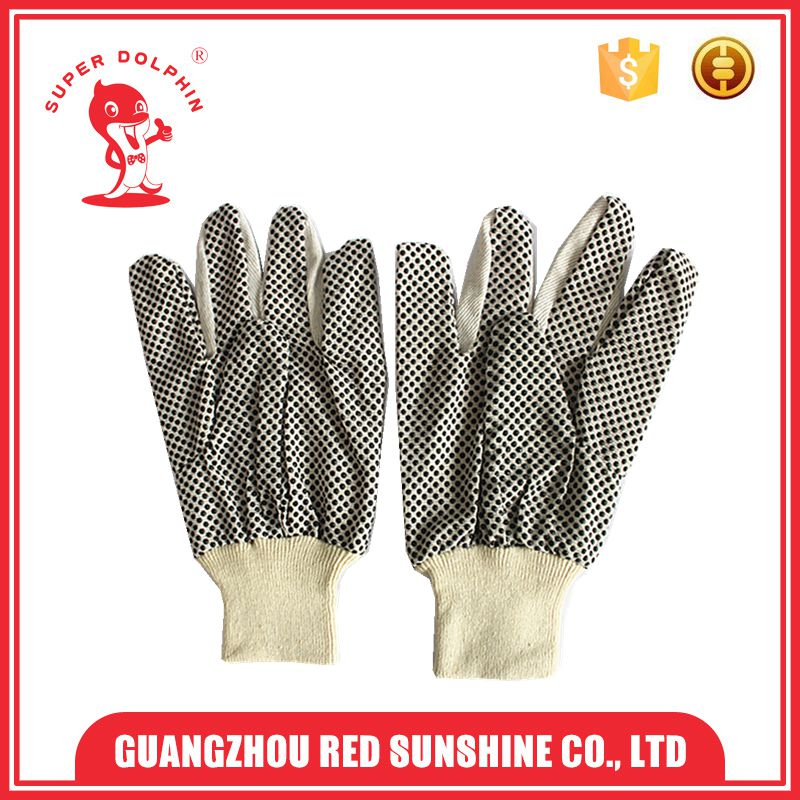 Safety working canvas gloves with black PVC dot